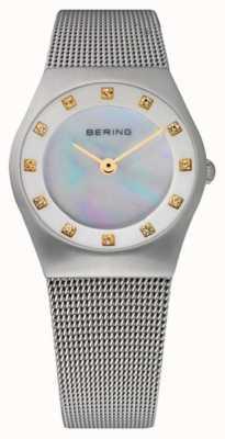 Bering Esfera de nácar para mujer | correa de malla de acero inoxidable | 11927-004