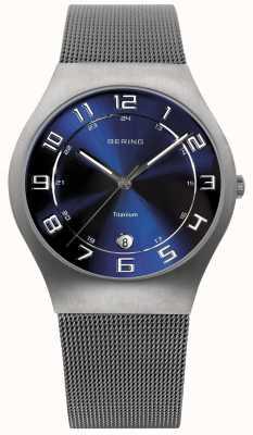 Bering Para hombre de titanio esfera azul reloj de la correa de malla 11937-078