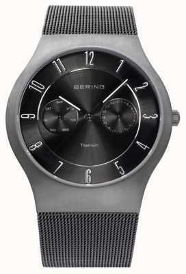 Bering Para hombre de titanio negro de línea reloj indicador de fecha 11939-077