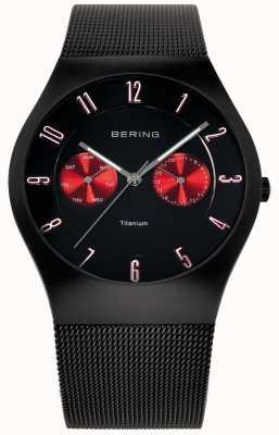 Bering Para hombre de titanio negro de malla roja acento reloj de la correa 11939-229