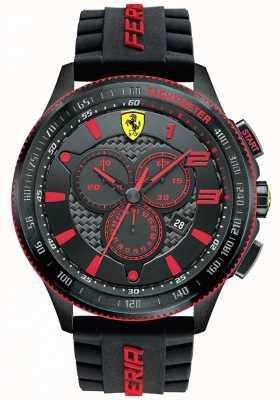 Scuderia Ferrari Mens xx negro acero IP rojo acento cronógrafo 0830138