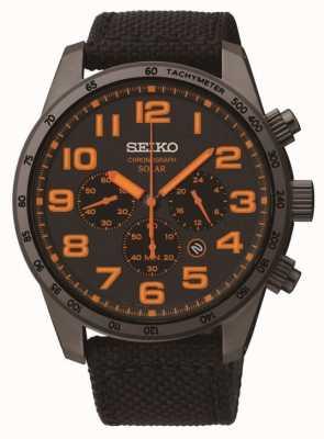 Seiko Reloj para hombre de la correa de lona de color naranja detalle de acero ip negro SSC233P9