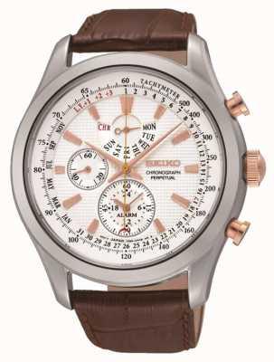 Seiko Reloj para hombre de cuero marrón de línea blanca de acero inoxidable SPC129P1