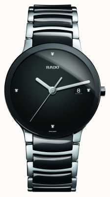 Rado Reloj de esfera negra de cerámica de alta tecnología Centrix Diamonds R30934712