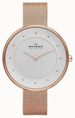 Skagen Señoras klassik rosa reloj de malla de oro SKW2142