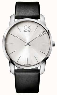 Calvin Klein Reloj de ciudad para hombre, correa negra minimalista K2G211C6