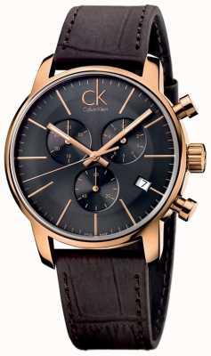 Calvin Klein Mens aumentaron esfera de color negro de cuero marrón cronógrafo de oro de la ciudad K2G276G3