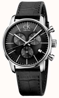 Calvin Klein Reloj para hombre de la correa de cuero negro de acero y acero inoxidable K2G271C3