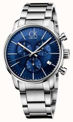 Calvin Klein Hombres de acero inoxidable de línea azul del cronógrafo de la ciudad K2G2714N