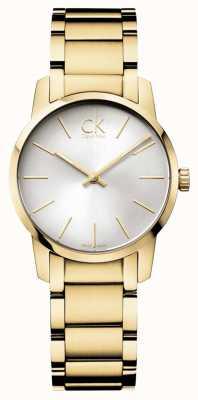 Calvin Klein Señoras de la ciudad reloj pvd oro amarillo K2G23546