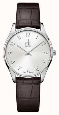 Calvin Klein señoras del cuero clásico del reloj K4D221G6