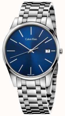 Calvin Klein Reloj azul plateado tiempo para hombre K4N2114N