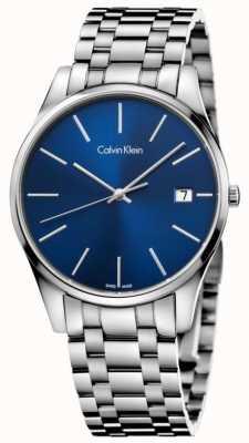 Calvin Klein Fecha del reloj azul plata para hombre K4N2114N