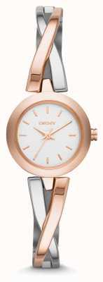 DKNY acero cruce de peatones señoras y subió reloj del brazalete NY2172