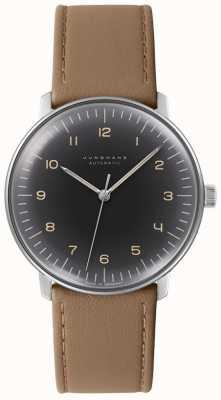 Junghans Reloj de cuero marrón automático con esfera negra para hombre max bill 027/3401.04