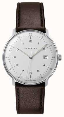 Junghans Reloj de hombre max bill de cuarzo con esfera blanca y cuero marrón 041/4461.04