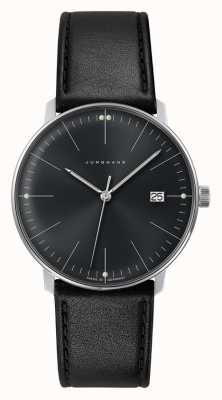 Junghans Reloj de cuero negro con esfera negra lisa de cuarzo max bill para hombre 041/4465.04
