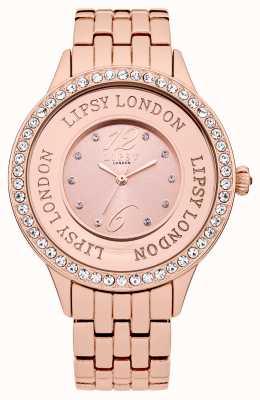 Lipsy Reloj de pulsera de tono de rosa para mujer con conjunto de cristal rosa de tono LP140