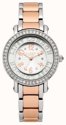 Lipsy Reloj de pulsera de dos tonos para mujer con cristal de tono de plata se LP179