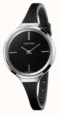 Calvin Klein Señoras animado correa de silicona negro K4U231B1