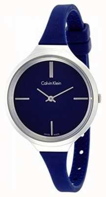 Calvin Klein Señoras animado correa de silicona azul K4U231VN