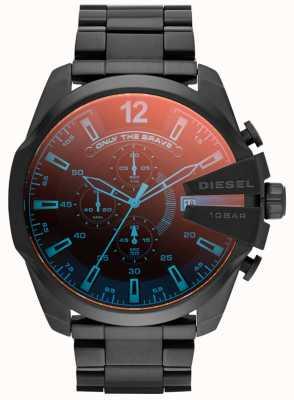 Diesel Mens mega-jefe, acero ip negro, reloj iridiscente DZ4318
