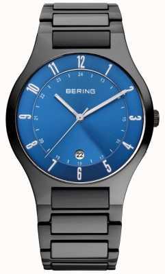 Bering Reloj de hombre de titanio negro, azul 11739-727