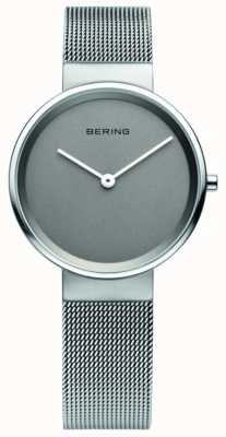 Bering Para mujer clásica, malla, esfera gris, reloj de acero 14531-077
