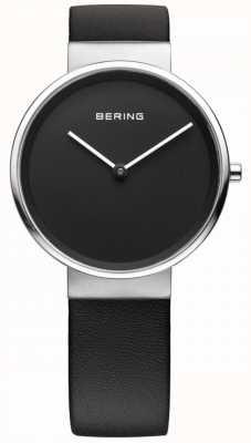 Bering Clásico de mujer, esfera negra, acero, cuero. 14539-402