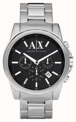Armani Exchange Mens esfera de color negro elegante cronógrafo de acero inoxidable AX2084