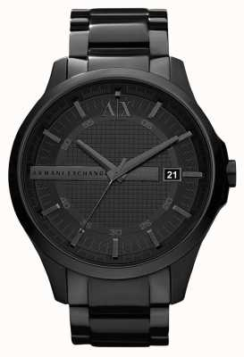 Armani Exchange Mens PVD negro elegante plateado de acero inoxidable AX2104