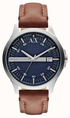Armani Exchange reloj de la correa de cuero de los hombres fecha AX2133