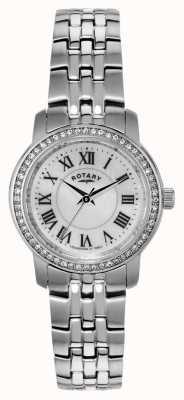 Rotary Damas de acero inoxidable reloj análogo de cuarzo LB02595/41