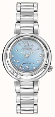 Citizen Eco-drive sunrise l womens dial azul diamante EM0320-59D