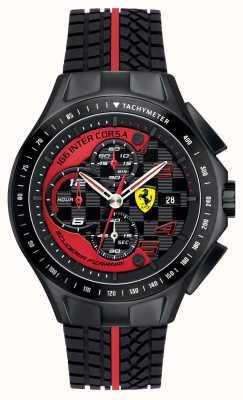 Scuderia Ferrari Reloj de la correa para hombre día, negro, correa de goma 0830077