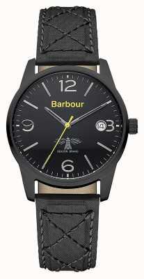 Barbour Mens alanby reloj correa de cuero negro BB026BKBK