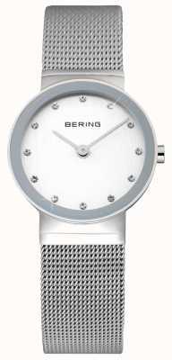 Bering Clásico de las señoras | correa de malla de acero inoxidable | cara blanca | 10122-000