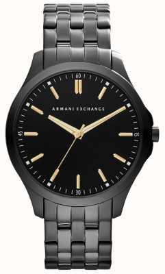 Armani Exchange Para hombre del IP inteligente chapado en oro marca acentos negro AX2144