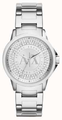 Armani Exchange Para mujer urbana cristal de la pulsera del acero inoxidable AX4320