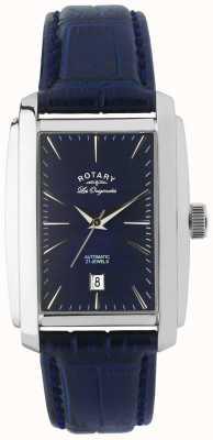 Rotary Caballeros de cuero azul reloj analógico automático LE90012/05
