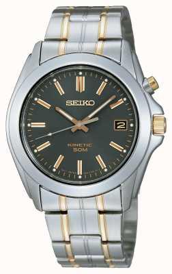 Reloj Seiko Caballero Pulsera Dos Tonos Esfera Negra SKA271P1