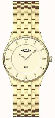 Rotary Señoras placa de oro, reloj ultra delgado, de línea champán LB08203/03