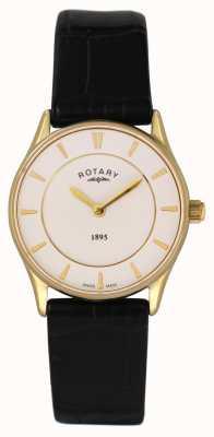 Rotary Damas de cuero negro reloj análogo de cuarzo LS08203/02