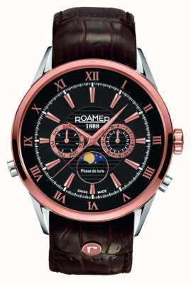 Roamer Mens fase lunar, oro rosa, reloj esfera de color negro 508821495305