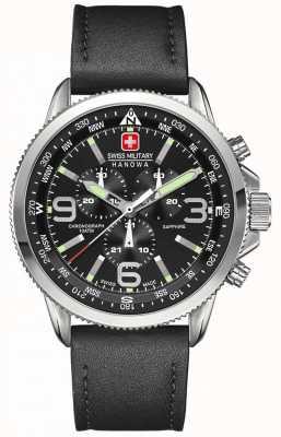 Swiss Military Hanowa Hombres de acero inoxidable, esfera de color negro, cronógrafo de cuero negro 6-4224.04.007