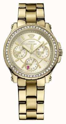 Juicy Couture Señoras chapado de oro de oro reloj análogo de cuarzo 1901105