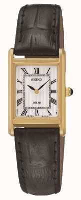 Seiko Reloj rectangular chapado en oro con energía solar para mujer SUP250P1