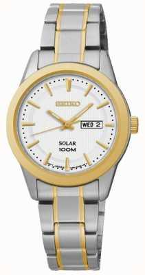 Seiko Reloj para mujer con fecha / fecha, reloj de dos tonos SUT162P1