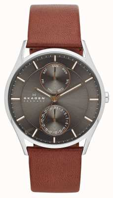 Skagen Reloj para hombre de la correa de cuero marrón holst SKW6086