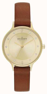 Skagen Anita damas chapado en oro reloj de correa de color marrón SKW2147